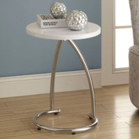 Round End Table Chrome Base Sturdy Living Room Furniture Glossy White Finish New