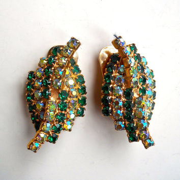 Green Rhinestone Earrings by KRAMER, Aurora Borealis, Leaf Motif, Signed Vintage