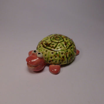 Green  turtle with a pink face (READY TO SHIP)