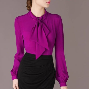 Spring Fall Elegant Bow Collar Long Sleeve Purple Shirt Blouse Career Tops For Woman 662C02 (Color: Purple) = 1958186116