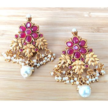 Clustered pearl bead hanging matte gold finish big stud earring