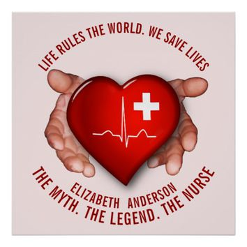 Registered Nurse With Red Heart In Hands Poster