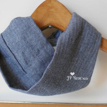 Herringbone Infinty Scarf, Toddler Scarf, Navy and Blue Scarf Bib, Boy Scarf, Girl Scarf, Size 6 months to Size 2T