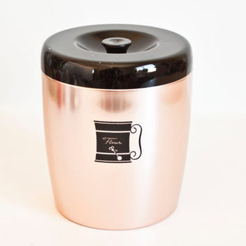 Vintage West Bend Copper Tone Aluminum Canister with Black Lid, Pink Flour Canister Kitchen Storage, Nice condition