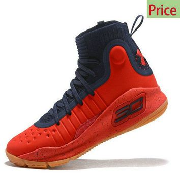 Cheap 2018 Mens Under Armour Curry 4 Mid Basketball Shoes Dark Blue Red Varisty Brown sneaker