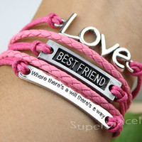 Bracelet - LOVE bracelet, BESTFRIEND bracelet, where there is a will there is a way bracelet, girlfriend and BFF