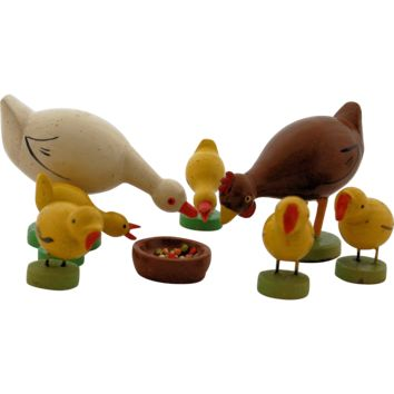 Two sets of Miniature Vintage Germany Wooden Putz Farm Animal Figurines Ducks Chickens
