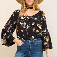 Floral Print Bell Sleeve Blouse - Black