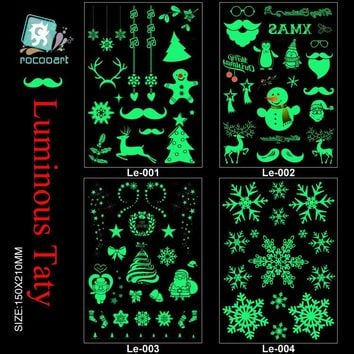 Rocooart Le001-004 21*15cm Body Art Merry Christmas Luminous Large Tatoo Sticker Snow Man Deer Temporary Fake Tattoo Stickers