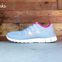 Women's Nike Free 5.0+ Running Shoes By Glitter Kicks - Hand Customized With Swarovski Crystal Rhinestones - White/Gray/Pink