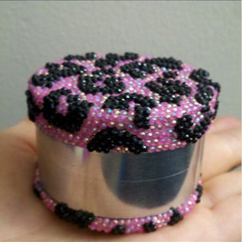 Pink and Black Cheetah Print Grinder
