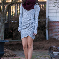 Ruched Tulip Dress, Gray