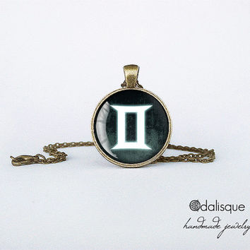 Gemini sign pendant European Zodiac necklace the twins air sign gift jewelry bronze for him for her jewellery key ring