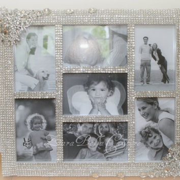 Crystal wedding picture frame, collage 4x6, photo frame