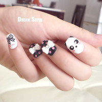 3D Nail Art Tips Cute panda Nail SetInclude 3D nail by DreamSupin