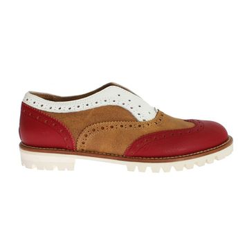 Brown Red Wingtip Flat Broques Shoes