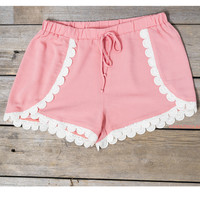 Need A Little Sweetness In My Life Peach Scallop Crochet Trim Shorts