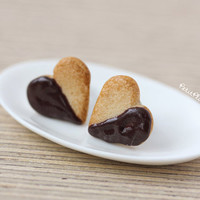 Heart Studs Earrings - Miniature Cookies Dipped in Chocolate - Cookie Collection