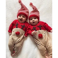 Newborn Baby Boys Girl Christmas Rompers Long Sleeve Deer Romper Jumpsuit Sleepwear Party Costume Baby Clothes