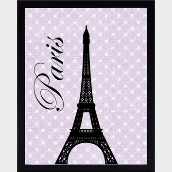Paris Themed Wall Art Prints Black on Vintage Lavender Art Print CUSTOMIZE YOUR COLORS 8x10 Prints Nursery Decor Baby Room Decor Kids