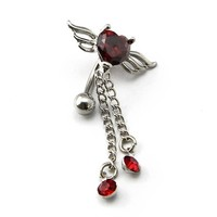 316L Surgical Steel 14G Reverse Red Gems Angel Wing Heart Dangle with Tassels Navel Ring Belly Bar Button