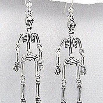 Exceptional Quality.925 Sterling Silver Original Dangle Skeleton Gothic Skull Head Halloween Dark Hell Dead Body 14 mm x 70 mm Pendant Earrings