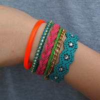 Multi-Color Leather Bracelets Pack