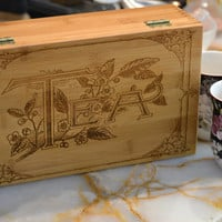 Vintage Design Engraved Tea Box - Store and Serve Your Favorite Teas in Style!