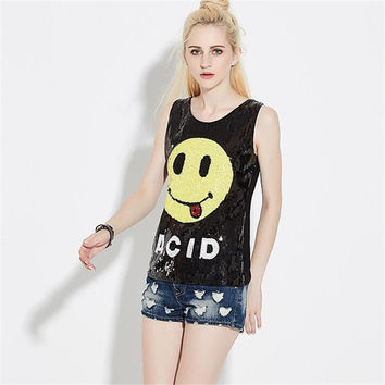 New Women T shirts Smile Print T-shirt Woman O-neck Top Sleeveless Sequined Bling Female Plus Size t shirt 72133 SM6