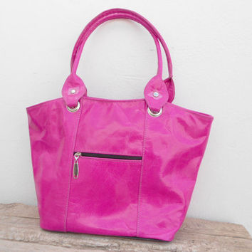Pink leather tote, shoulder, shopping, Woman, College, School Bag, Handmade Leather Handbag, Gift For Her