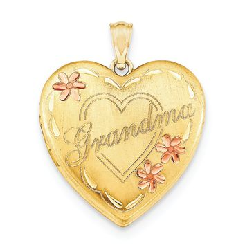 1/20 Gold Filled Grandma 23mm Enameled Heart Locket QLS118