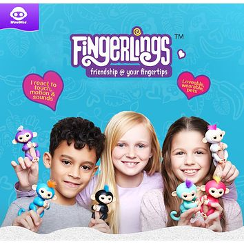 WowWee Fingerlings Interactive Baby Monkeys Toy Smart Colorful Fingers Llings Smart Induction Toys Christmas Gift Toy For Kids