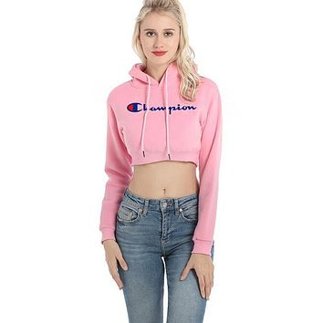 """Champion"" Newest Popular Women Sexy Print Short Shirt Crop Long Sleeve Hoodie Velvet Sweater Pullover Top Pink"