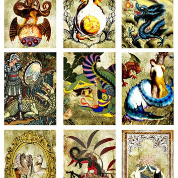 Vintage ancient dragons digital collage sheet download printable 2 BY 3 inch clip art graphics for tags cards scrapbooking crafts