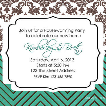 Modern Chevron Graduation Party Invitation / Housewarming / Wedding Shower DIY Printable 5x7
