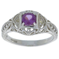 Alexandrite & Diamond Round Ring .925 Sterling Silver
