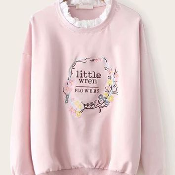 Contrast Lace Neck Floral And Letter Embroidered Frill Sweatshirt
