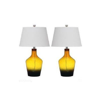 Safavieh Antiquarian Glass Table Lamp, Gold Multi Color Lit4158a - Set Of 2