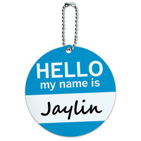 Jaylin Hello My Name Is Round ID Card Luggage Tag
