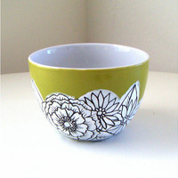Ceramic Bowl Flowers Green Black White Botanicals Hand Painted