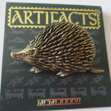 Hedgehog Vintage JJ Jonette Jewelry signed Pin Brooch- unique gift under 20 Artifacts made in the USA 1980s, JJ collectible