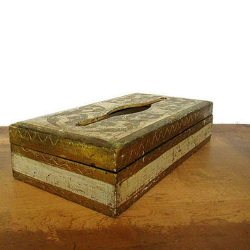 Mid-Century Florentine Tissue Box, Italy, Gold Shabby Cottage Chic Renaissance Decor A Romantic Boudoir
