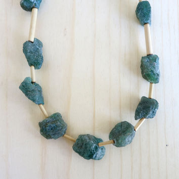 Apatite Necklace 02 Raw Green Stone Bamboo Beaded