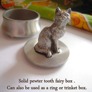 Fine pewter cat tooth fairy box,boys and girls,nursery decor,baby shower,cat lover gift,adults & kids trinket box,pewter kitten figurine.