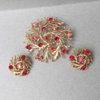Signed LISNER Red Aurora Borealis Rhinestone TREE of Life Vintage Pin & Earrings Set