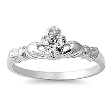 Choose Color Womens Girls Claddagh Ring Rhodium Plated Sterling Silver Irish Claddagh Promise Ring Birth Month CZ