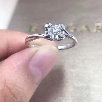 ANI 18K White Gold (AU750) Women Wedding Ring Certified F-G/VS 0.2 Carat Solitaire Real Diamond 4 Claws Ring for Proposal Gift