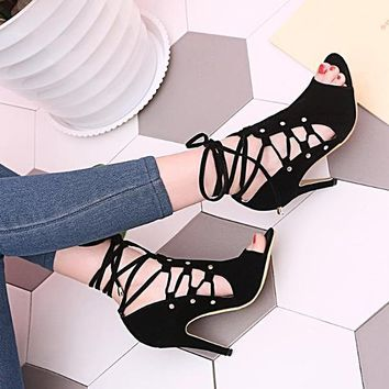 High Heel Shoes Summer Chic Womens Sandals Peep Toe Cross Ankle Strap Pumps