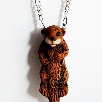 Otter Necklace, Sea Otter Jewelry, Otter Animal Charm, Realistic Otter Pendant, Ceramic Animal Charm by Hendywood