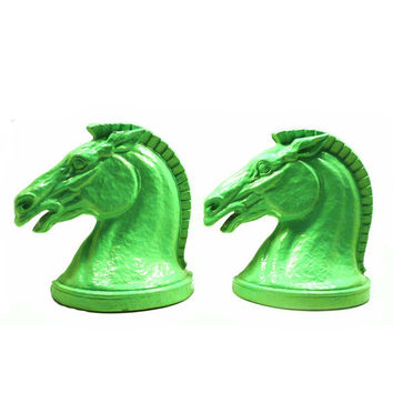 horse bookends, equestrian, horse heads, mint green, home decor, modern, animals, horses, pony, bookend, book ends